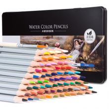 得力(deli)72色铁盒水溶性彩色铅笔 水溶性彩铅套装6524