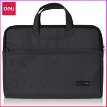 得力(deli)便携式公文包拉链式手提包休闲时尚商务办公电脑包会议包黑色(高档电脑/IPAD包)5590