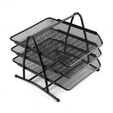齐心 B2163-x 耐用铁网文件盘 三层 黑色